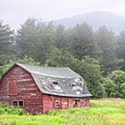 Rustic Landscape - Red Barn - Old Barn And Mountains Poster