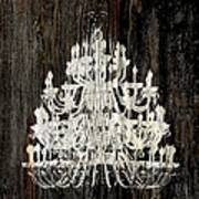 Rustic Shabby Chic White Chandelier On Wood Poster