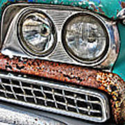 Rusty 1959 Ford Station Wagon - Front Detail Poster