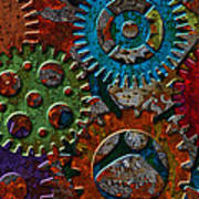 Rusty Gears On Grunge Texture Background Poster