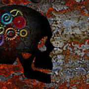 Rusty Gears On Skull Grunge Texture Background Poster