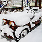 Rusty Jeep In Snow Poster