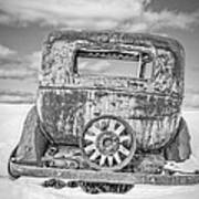 Rusty Old Car In The Snow Poster