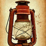 Rusty Old Lantern On Aged Textured Background E59 Poster