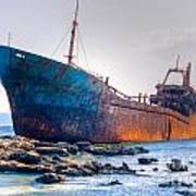 Rusty Old Shipwreck Aground  On Rocky Reef Poster
