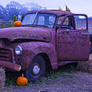 Rusty Truck With Pumpkins Poster