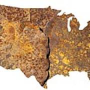 Rusty Usa Map Poster