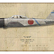 Saburo Sakai A6m Zero - Map Background Poster by Craig Tinder