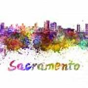 Sacramento Skyline In Watercolor Poster
