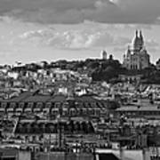 Sacre Coeur Over Rooftops Black And White Version Poster