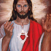 Sacred Heart Of Jesus Poster by Terry Sita