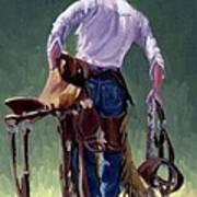 Saddle Bronc Rider Poster by Randy Follis