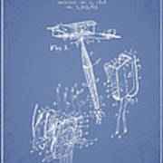 Safety Parachute Patent From 1919 - Light Blue Poster