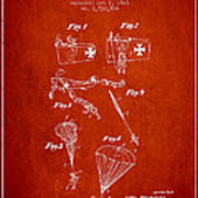 Safety Parachute Patent From 1925 - Red Poster