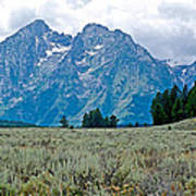 Sagebrush Flatland And Teton Peaks Near Jenny Lake In Grand Teton National Park-wyoming- Poster