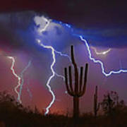Saguaro Lightning Nature Fine Art Photograph Poster