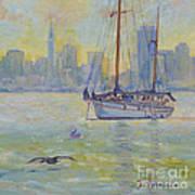 Sailboat Anchored At Sunset Poster