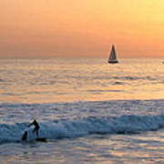 Sailboats And Surfers Poster