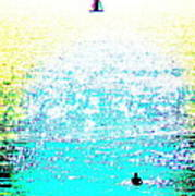 Sailboat And Swimmer -- 2c Poster by Brian D Meredith