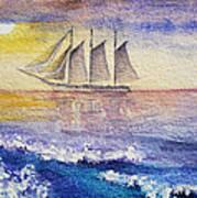 Sailboat In The Ocean Poster