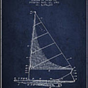 Sailboat Patent From 1962 - Navy Blue Poster