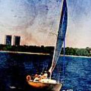 Sailboat Tilted Towers W Metal Poster