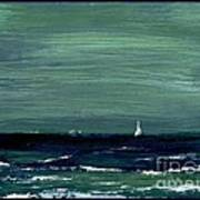 Sailboats Across A Rough Surf Ventura Poster by Cathy Peterson