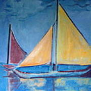 Sailboats With Red And Yellow Sails Poster