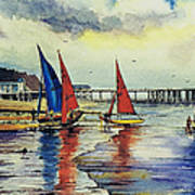 Sailing At Penarth Poster