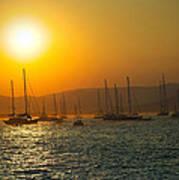 Sailing Boats On Sea At Sunset  Poster