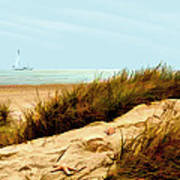 Sailing By Sand Dune Poster