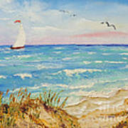 Sailing By The Beach Poster