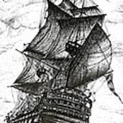 Sailing Drawing Pen And Ink In Black And White Poster by Mario Perez