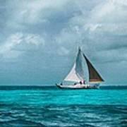 Sailing In Blue Belize Poster