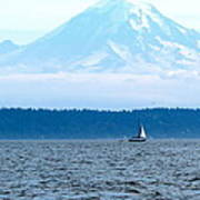 Sailing In Mt. Rainier's Shadow Poster