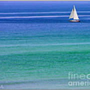 Sailing On Turquoise Blue Water Poster