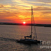 Sailing Past The Sunset Poster