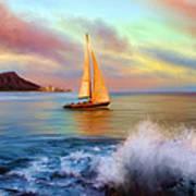 Sailing Past Waikiki Poster