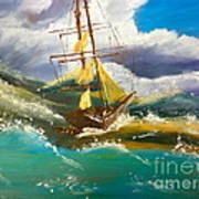 Sailing Ship In A Storm Poster