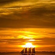 Sailing Yacht Schooner Pride Sunset Poster