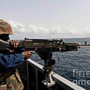 Sailor Fires A M240b Machine Gun Aboard Poster