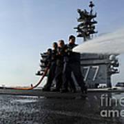 Sailors Conduct Hose Team Training Poster