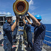 Sailors Load Rim-7 Sea Sparrow Missiles Poster