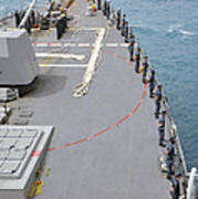 Sailors Man The Rails On Uss Mccampbell Poster