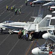 Sailors Push An Fa-18c Hornet Poster