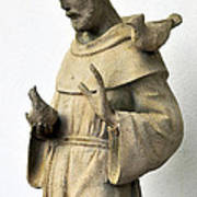Saint Francis Of Assisi Statue With Birds Poster