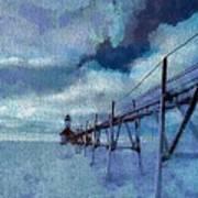 Saint Joseph Pier Lighthouse In Winter Poster by Dan Sproul
