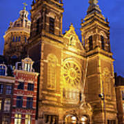 Saint Nicholas Church At Night In Amsterdam Poster