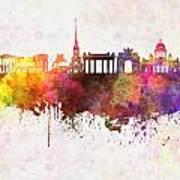 Saint Petersburg Skyline In Watercolor Background Poster