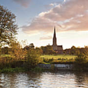 Salisbury Cathedral And The River Avon Poster